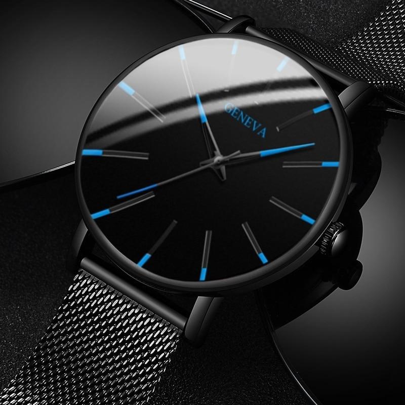 Men's Fashion Ultra Thin Watches Simple Men Business Stainless Steel Mesh Belt Quartz Watch Leather Strap Gift for Boyfriend 1