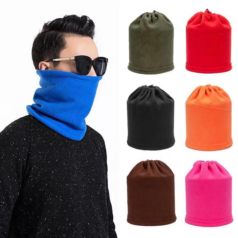 Unisex Men Winter Polar Fleece Neck Warmer Snood Ssarf Hat Women Casual Thermal  Scarfs Snood Neck Warmer Face Mask Beanie Hats