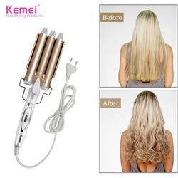 Professionnel cheveux fer à friser en céramique Triple baril femmes cheveux Styler cheveux Waver outils de coiffure bigoudis électrique friser