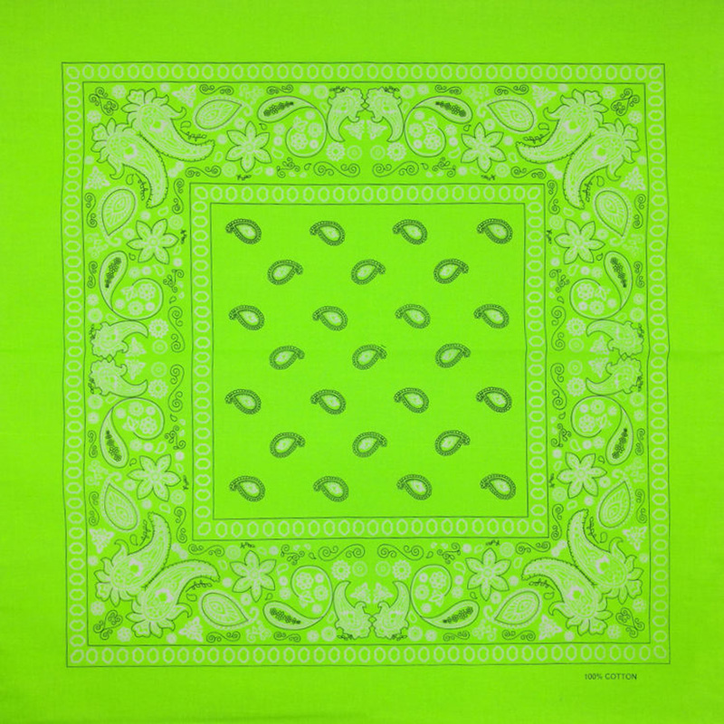 Fluorescent Green Women Foulard Hip Hop Cotton Square Scarf Bandana Headband Scarf Cashew Gifts For Men/Boys/Girls