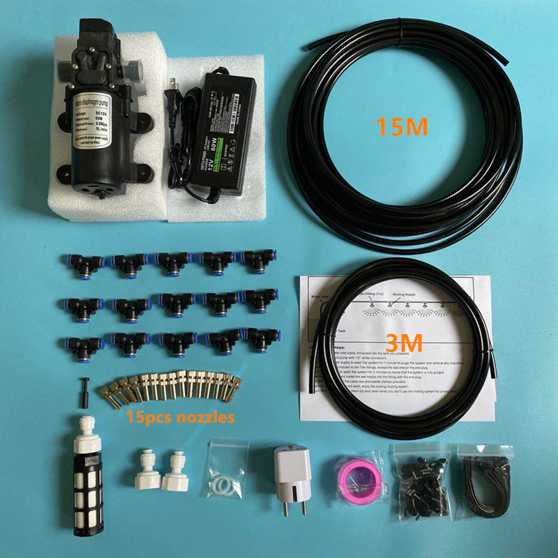 S368 12V Water Spray Electric Diaphragm Pump Kit Portable Misting Water Pump 15M Misting Cooling System For Misting Disinfection