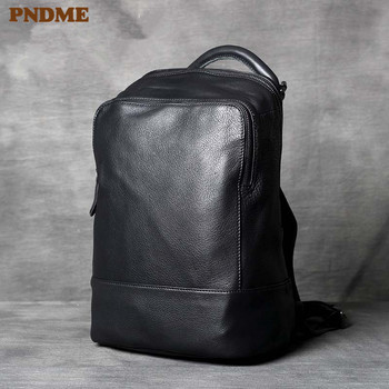 PNDME fashion simple genuine leather men ladies black backpack casual soft cowhide laptop bagpack travel womens luxury bookbag