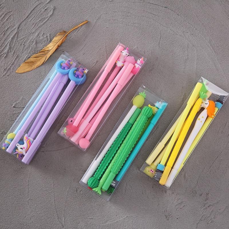 6pcs/Box Cartoon Random Design Gel Pen Cute Soft Glue Unicorn Flamingo Variety Of Designs Lovely Stationery School Gift Supplies