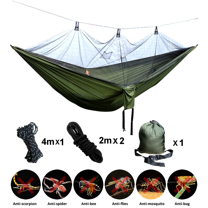 Hammock Parachute Hanging-Bed Sleeping-Swing Anti-Mosquito Garden Outdoor 1-2 Person