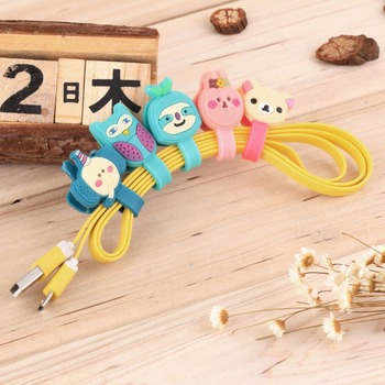 Multi-styles Cartoon Headphone Earphone Earbud Silicone Cable Cord Wrap Winder Organizer Holder Winding Thread Tool image