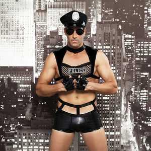 Image 1 - גברים סקסי תלבושות חמה ארוטית סקסי קוספליי תלבושות מפואר שוטרים שמלת גברים ליל כל הקדושים תלבושות משטרת מדים 6603