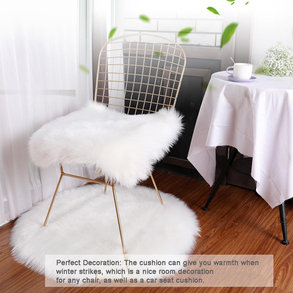 Square Faux Fur Sheepskin Chair Cover Seat Cushion Pad For Sofa Office Chair Seat Red Artificial Wool Chair Mattress Car Decor Cushion Aliexpress