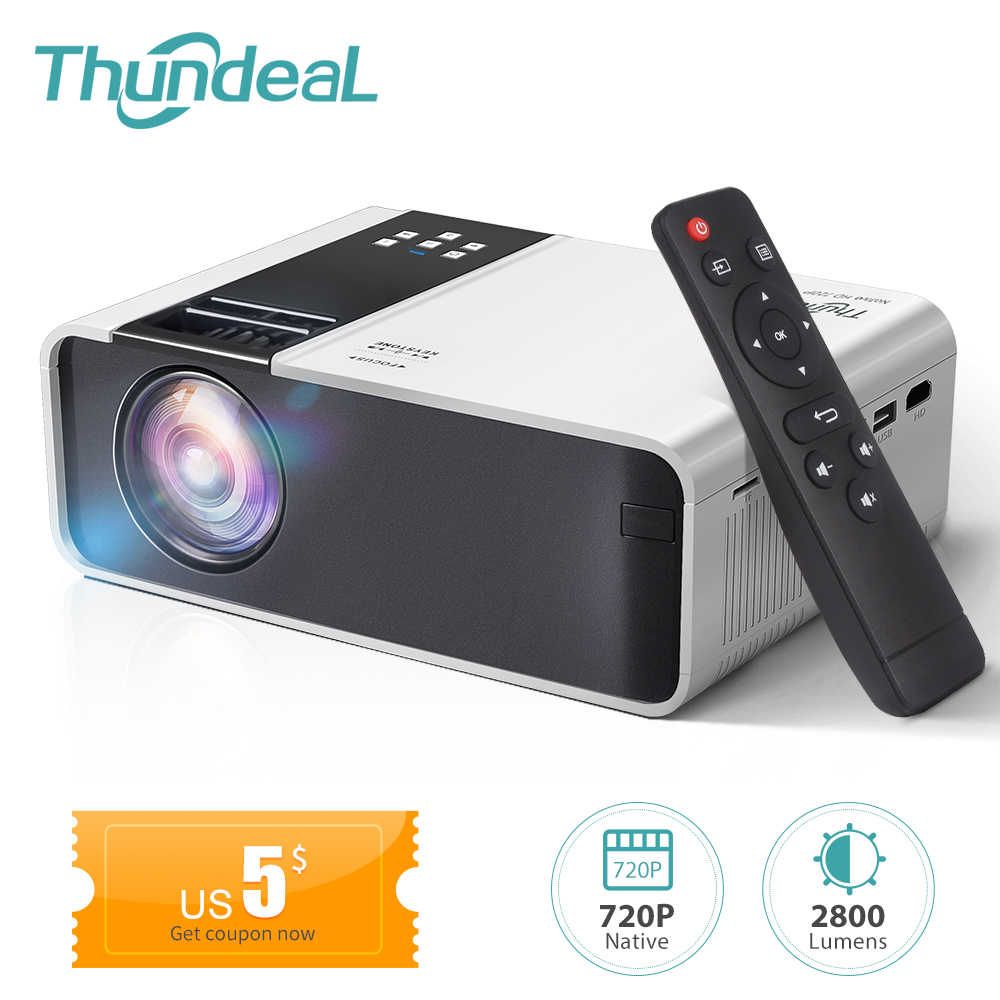 Thundeal TD90 Nativo mini projetor full hd portatil 1280 x 720 p proyector 3d para smartphone beamer home cinema em casa led video projetores para celular android multi tela espelhamemto celulare sincronização datashow
