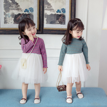 Baby girl clothes baby girl long sleeve stitching mesh tutu princess dress baby girl sweet cute baby girl dress 5