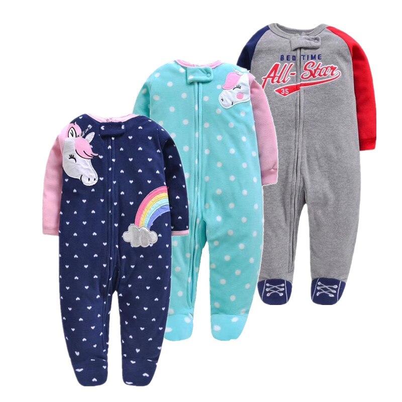 2019 unicornio baby mädchen kleidung, weiche fleece kinder ein stück strampler pijama neue geboren infant mädchen jungen kleidung baby kleidung