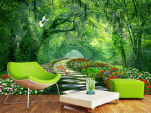 Custom 3D Wall Mural Wallpaper Home Decor Forest Woods Nature Landscape 3D Photo Wall Paper For Living Room Bedroom Wallpaper(China)