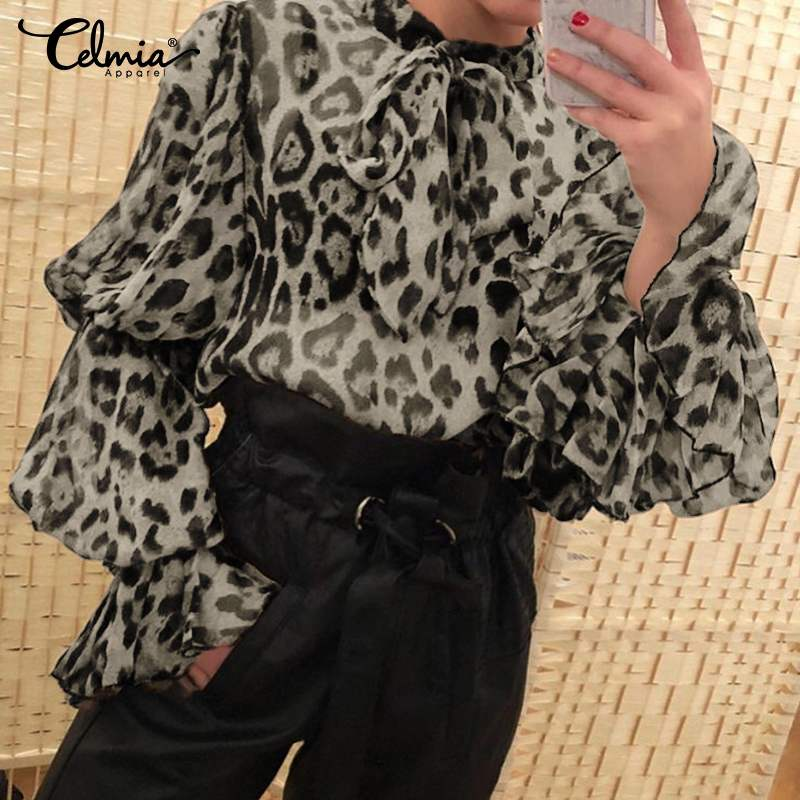 Celmia Women Sexy Leopard Print Blouses Long Flare Sleeve See-through Sheer Shirts Chiffon Top Bow Tie Neck Vintage Party Blusas