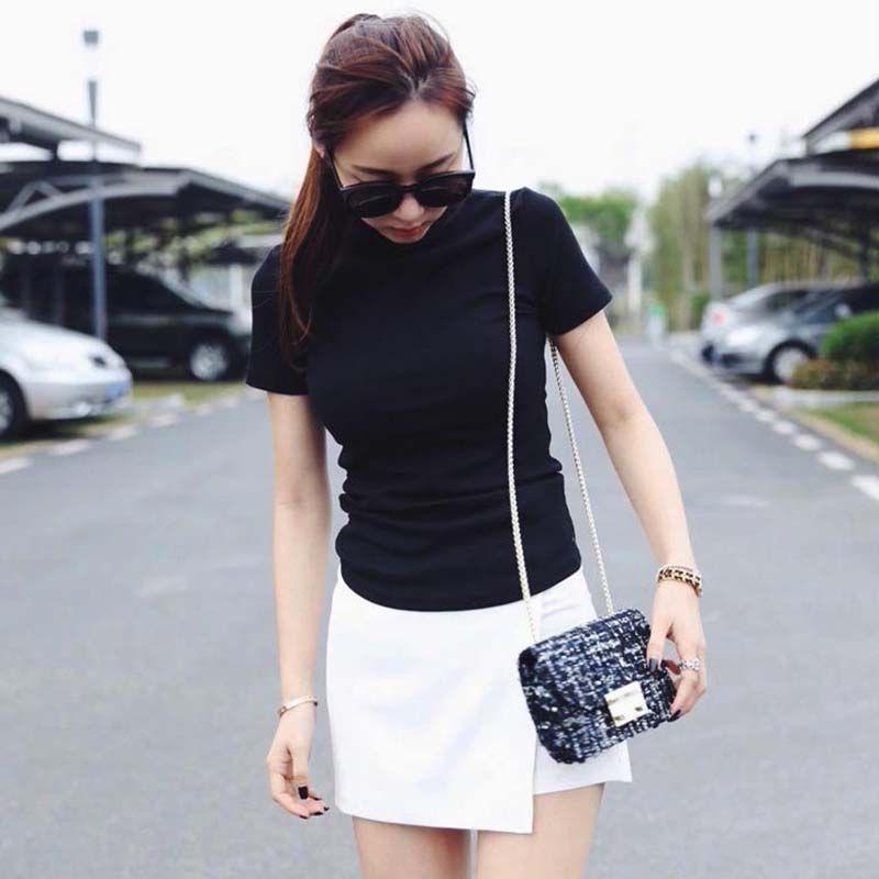 Women Solid Black T-Shirt Slim Short Sleeve T-Shirts Ladies Basic Tee Tops Turtleneck Summer Tshirt 2020 6