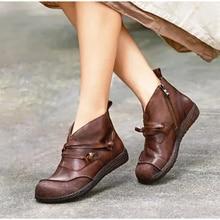 MCCKLE Women Lace Up Vintage Ankle Boots Ladies Fashion Autumn Boots