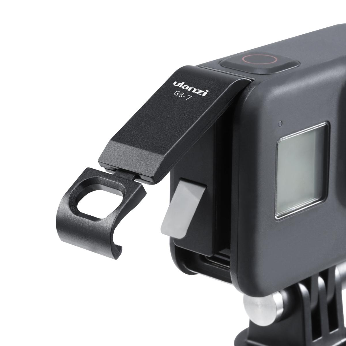 Aluminum Alloy Chargeable Battery Lid for Gopro Hero 8 Black Battery Cover Case Battery Door Charge Port Sports Camera Accessory