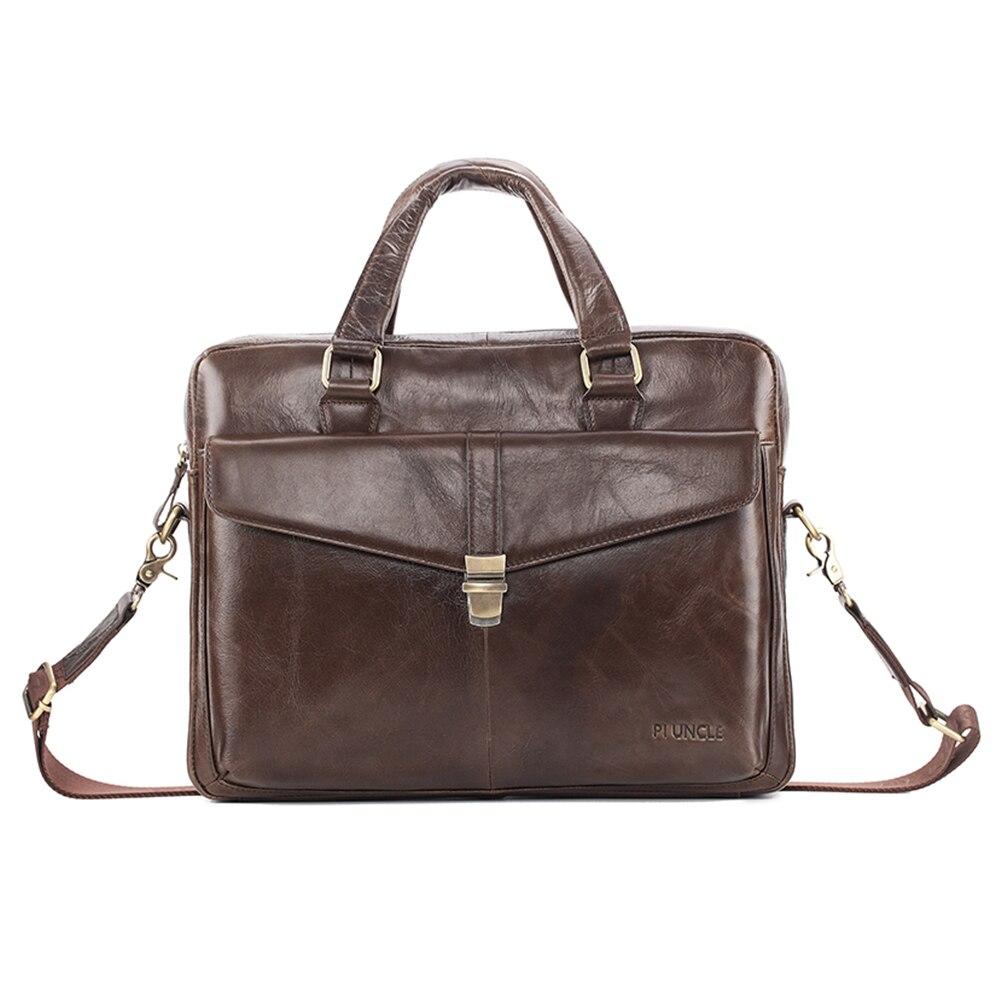 Men's Cow Leather Business  Briefcase Computer Handbag For Work Cross Body Laptop Bag Office Soft Leather Big Bag