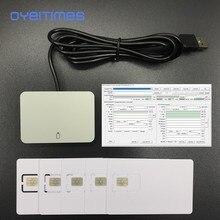 Oyeittimes 4G LTE SIM Card Reader Писатель программист+ 5 шт. 128k 4G LTE пустые sim-карты+ 1 шт. 2G3G4G5G 4.1.5 Ver sim-карта программное обеспечение