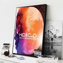 Kid Cudi Man on the Moon Hot New Album Music Cover Hip Hop Rap Rapper Star Art Painting Silk Canvas Poster Wall Home Decor