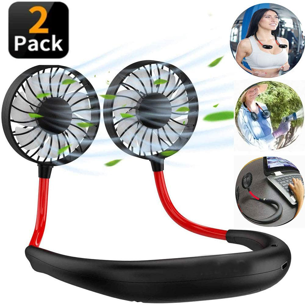 2Pcs Hands-free Neck Band Hands-Free Hanging USB Rechargeable Dual Fan Mini Air Cooler Summer Portable 2000mA Sarmocare