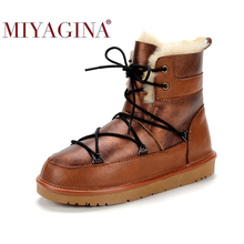 Winter Boots Shearling Brown Waterproof MIYAGINA Sheepskin Leather Casual Women Ankle