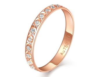 Glitzy Starry 18K AU750 Real Solid Gold 2-Tone Stackable Ring Bands for Women Female Girl Trendy Upscale Fancy Fine Jewelry Gift