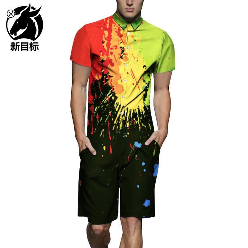 One-piece 2019 Summer Splash-Ink Printed Short Sleeve Onesie Workwear Casual Shirt New Style Set Men's