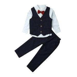 Деловые костюмы для маленьких мальчиков галстук-бабочка + рубашка + жилет + штаны, праздничный костюм из 4 предметов, костюмы для мальчиков, О...
