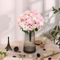 Rosa artificial de seda rosa, decoración de jardín familiar para fiesta de boda, ramo de novia artesanal, accesorios de flores falsas
