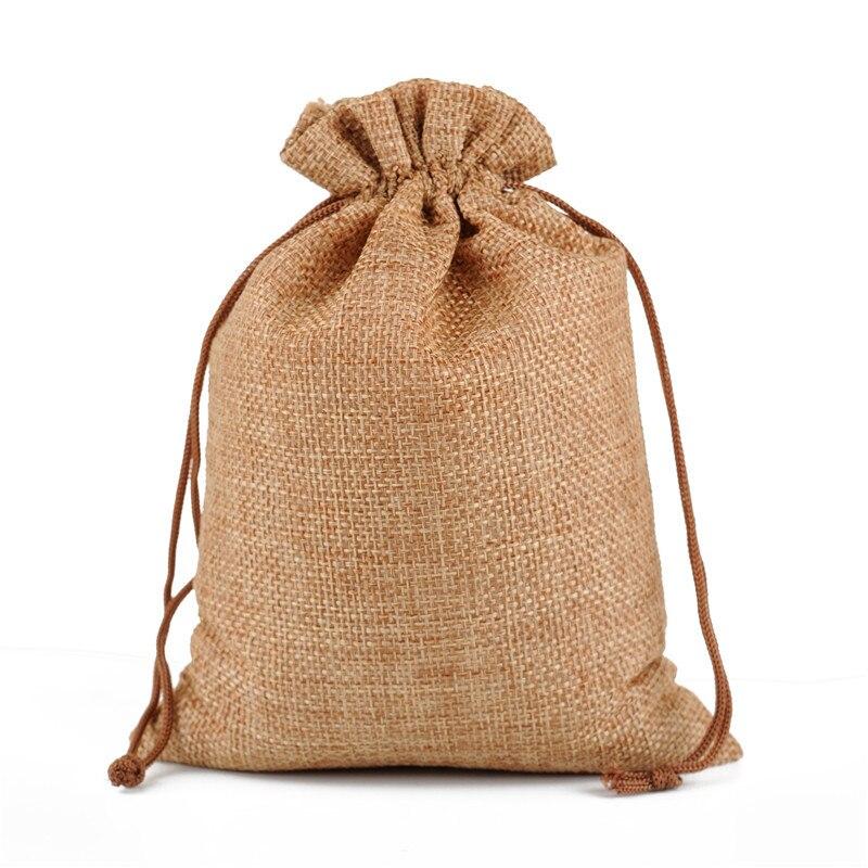 50pcs/lot 17x23cm Eco Burlap Jute Linen Drawstring Gift Bags Wedding Birthday Party Packaging Bags Supply Can Print Logo