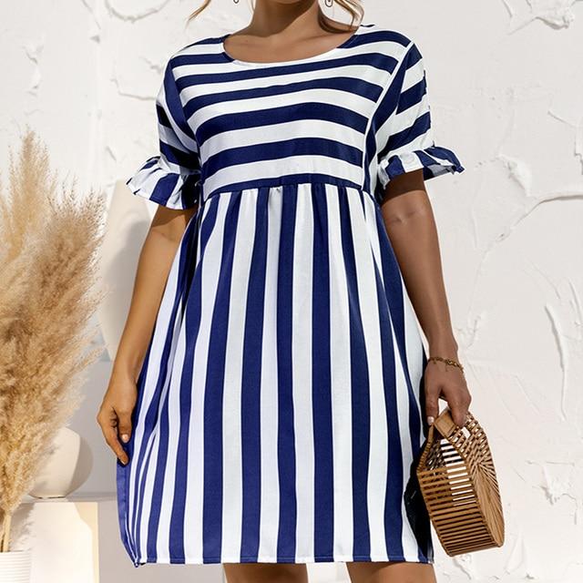Summer Loose Women Dress Elegant Stripe Midi Dresses Female Casual Short Sleeve Ruffle Office Ladies Dress Pocket Beach Vestidos 3