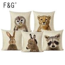 Karikatür hayvanlar baskılı minder örtüsü sanat dekoratif için sevimli yastık sandalye yastık kılıfı araba koltuğu aksesuarları yastıkları ev dekor
