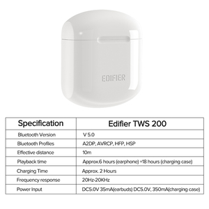 Image 2 - EDIFIER TWS200 TWS Earbuds Qualcomm aptX Wireless earphone Bluetooth 5.0 cVc Dual MIC Noise cancelling up to 24h playback time