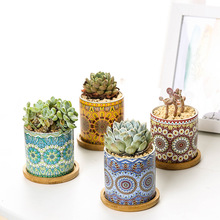 Flower Pot Mandala Straight Barrel Cylindrical Fleshy Ceramic Nordic Simple Style  Planter Succulents Pots