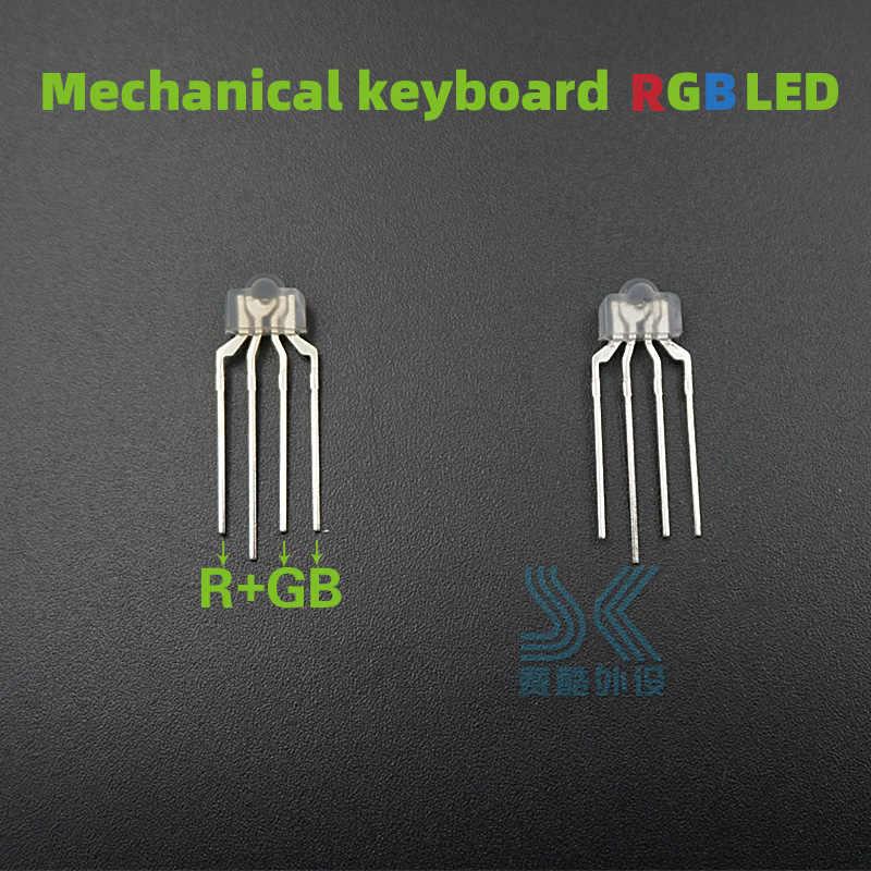 10 Buah/Pack Teknik Keyboard RGB LED 4pin Lampu Lampu untuk Kailh OTM Gateron Greetech Switch Keycool Penuh Warna