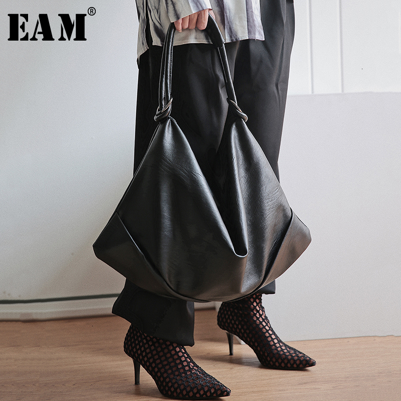[EAM] Women New Pu Leather Brief Fold Split Big Personality Accessories Fashion Tide All-match Spring Autumn 2020 19A-a376
