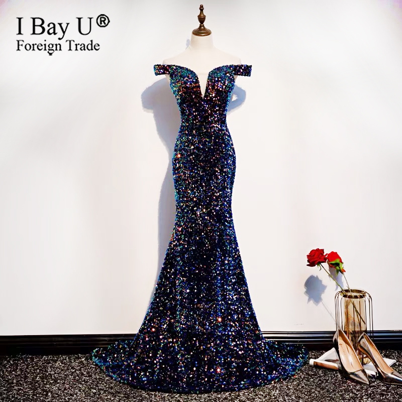 2020 New Sequins Off Shoulder Mermaid Evening Gown Shiny Formal Evening Dress Vintage Elegant Long Sexy Prom Dress Small Train