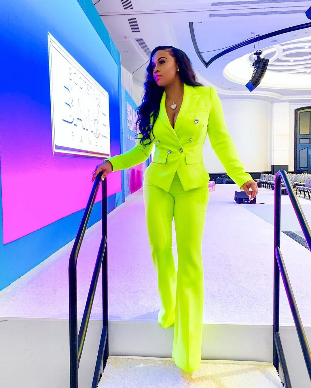 Nice Winter Office Suits Women Tracksuit Long Sleeve Neon Green Blazer Pants Suit Office Lady Two Piece Set Lady Club Outfit