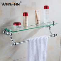 Bathroom Shelves Wall Mounted Crystal & Brass Single Tier Shelf With Bar Chrome Finish Crystal & Glass Bathroom Accessories 638
