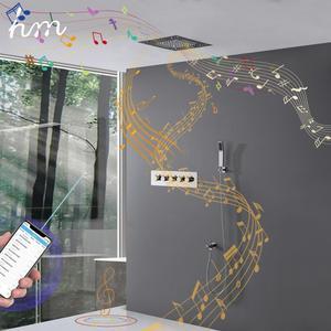 Image 4 - Hm יוקרה מוסיקה מערכת מקלחת אמבטיה מקלחת ברז Led גשם מקלחת תרמוסטטי מיקסר עיסוי מוסיקה מקלחת מטוסי גוף