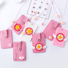 Cardcaptor Sakura Card Captor Cartoon Pink Keychain Key Ring Pendant Holder ID Bus Bank Card Coin PU Leather Charms Trinket Gift(China)