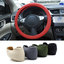 1pcs Universal Car Styling Texture Soft Car Steering Wheel Cover Car Silicone Steering Wheel Glove Cover Automobiles Accessories