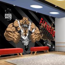 Milofi custom wallpaper mural black background bodybuilding bear gym background wall