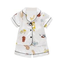 Toddler Boys And Girls Cartoon Kitten Print Nightwear Set Baby Kids Short Sleeve Blouse Tops Shorts Sleepwear Pajamas 2020 New