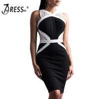 INDRESSME 2019 Women New Fashion Halter Hollow Out Strap V Neck Sleeveless Bandage Dress Party Club Bodycon Sexy Sheath Dress