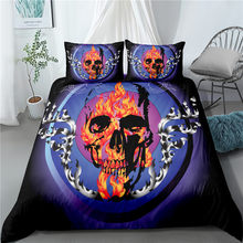 Haguyy Skull Floral Queen Bedding Set Luxury 3D Printed Duvet Cover Set King 2/3Pcs Home Textiles Comforter Bedding Sets(China)