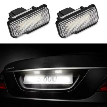 2x Car LED License Plate Lights For Mercedes W211 W203 5D W219 R171 No Error 6500K white Light High Quality License Plate Light image