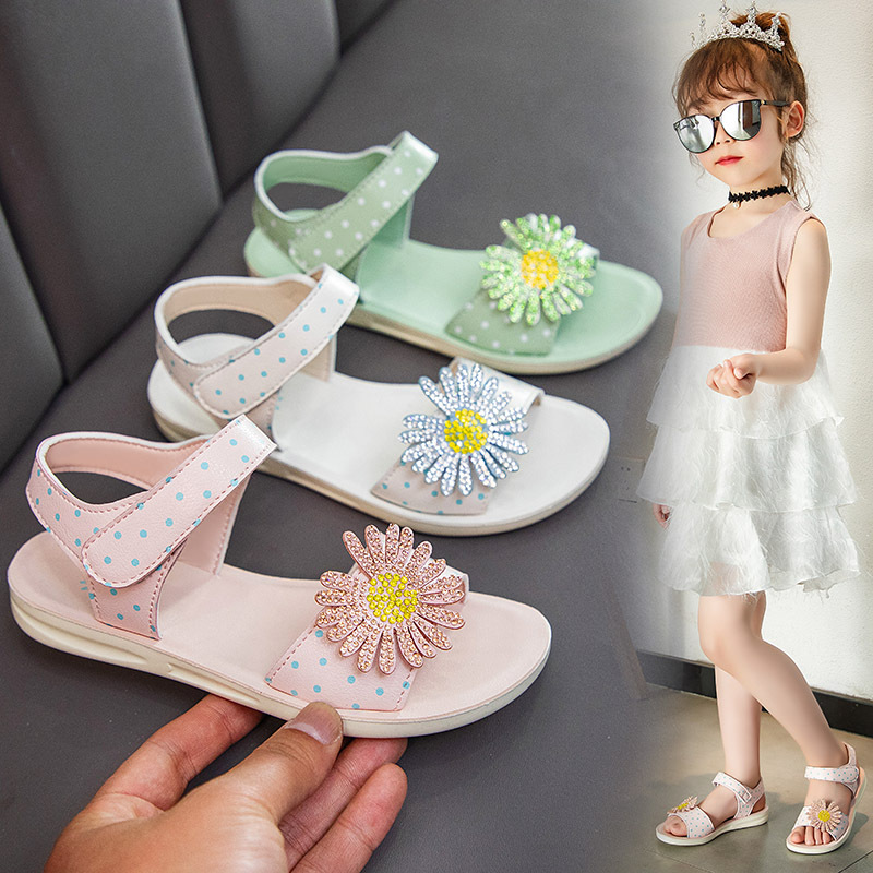 Girls Sandals Summer New Bowknot Princess Anti-Slip Soft-Soled Shoe Toddler Baby