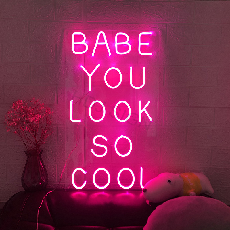 Waterproof Custom LED Flex Neon Sign Babe You Look So Cool Bar Pub Club Light Signs Wall Hanging Decoration for Room Party