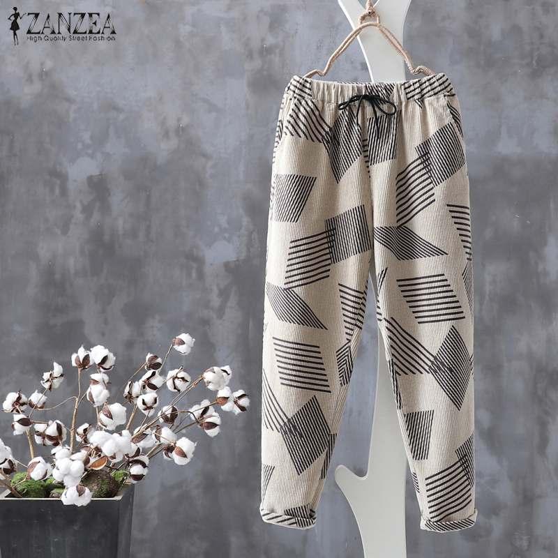 Women's Harem Pants 2020 ZANZEA Kaftan Corduroy Trousers Casual Elastic Waist Long Turnip Female Printed Streetwear Pantalon