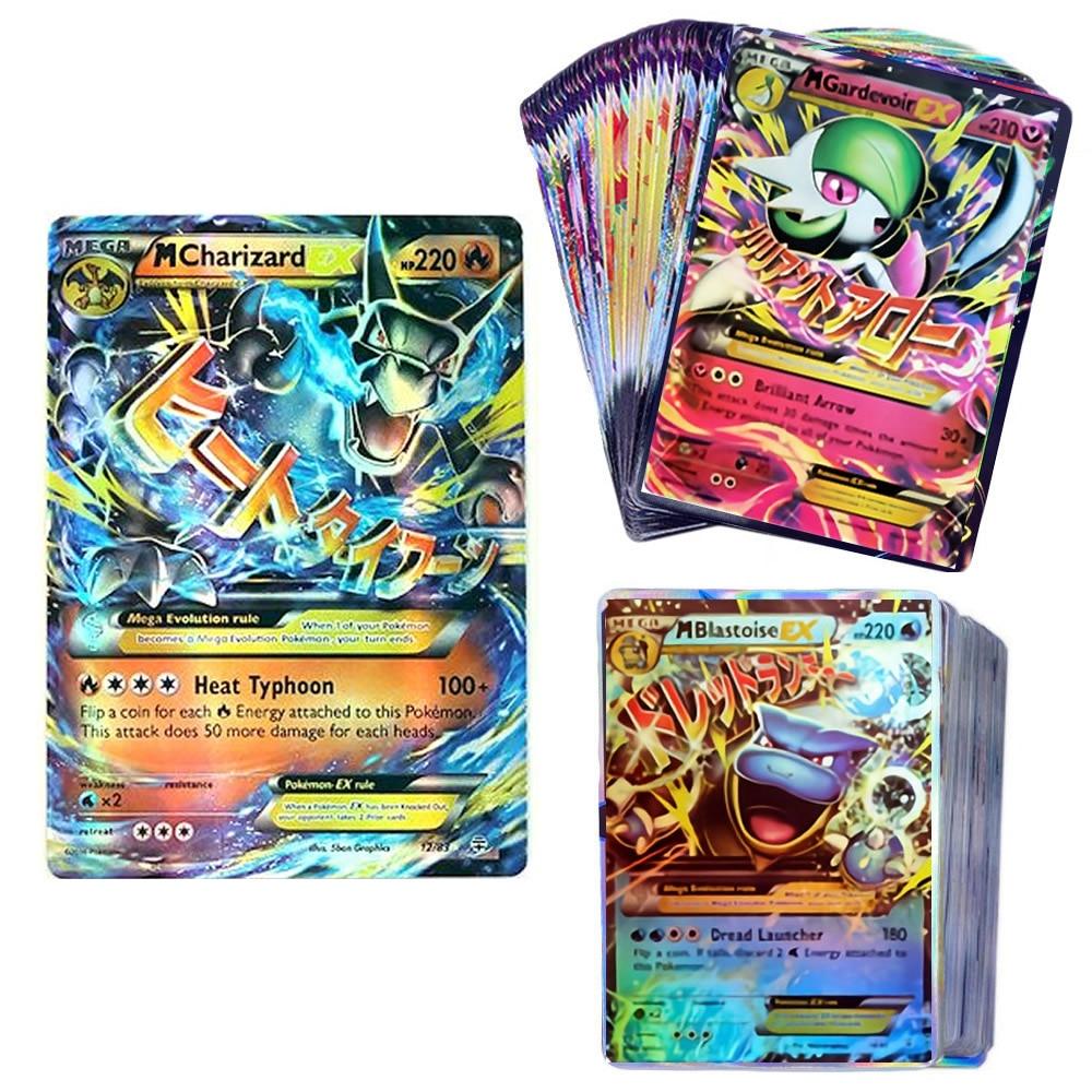 100 шт. коробка карт Pokemon MEGA EX TAKARATOMY для детей, играющих в игры, Боевая торговля, собирающая сверкающие карты, Лидер продаж, детская Подарочная ...